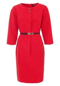 Sukienka, rękawy 3/4 bonprix czerwony. Kolor: czerwony
