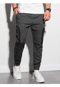 Ombre Clothing - Spodnie męskie joggery P960 - grafitowe - XXL. Kolor: szary. Materiał: bawełna, materiał