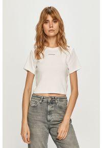 Biała bluzka Calvin Klein Jeans na co dzień, gładkie, casualowa