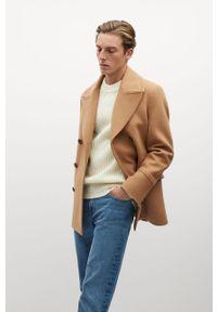 Brązowy płaszcz Mango Man bez kaptura, casualowy, na co dzień