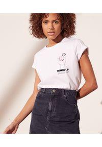 """Woven T-Shirt """"Woman Up"""" - Xl - Biały - Etam. Kolor: biały. Długość: krótkie. Wzór: nadruk"""