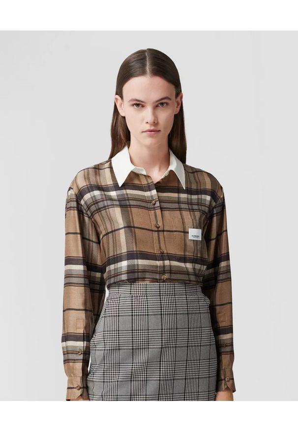 Burberry - BURBERRY - Jedwabna koszula w kratkę. Okazja: do pracy. Kolor: beżowy. Materiał: jedwab. Wzór: kratka