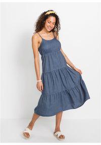 Sukienka oversize w optyce dżinsowej TENCEL™ Lyocell bonprix niebieski denim. Kolor: niebieski. Materiał: lyocell, denim. Sezon: lato. Typ sukienki: oversize