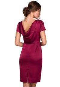 Makover - Piękna elegancka sukienka z efektownym dekoltem na plecach. Materiał: materiał. Typ sukienki: ołówkowe, dopasowane. Styl: elegancki