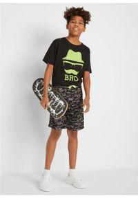 Czarne spodnie bonprix sportowe, z nadrukiem