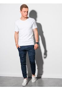 Ombre Clothing - T-shirt męski bawełniany S1378 - biały - XXL. Kolor: biały. Materiał: bawełna