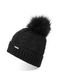 BRODRENE - Czapka zimowa damska z pomponem Brodrene CZ24 czarna. Kolor: czarny. Materiał: materiał. Sezon: zima. Styl: elegancki