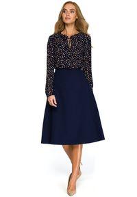 Style - Klasyczna elegancka trapezowa spódnica midi. Okazja: do pracy, na co dzień. Materiał: materiał, elastan. Styl: klasyczny, elegancki