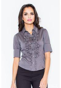 Szara koszula Figl elegancka, w kolorowe wzory, z falbankami