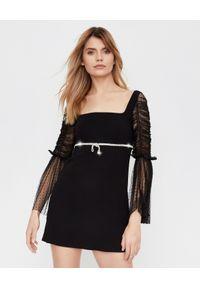 SELF PORTRAIT - Czarna sukienka mini z kryształami. Typ kołnierza: dekolt kwadratowy. Kolor: czarny. Materiał: tkanina. Wzór: ażurowy. Typ sukienki: proste, rozkloszowane, dopasowane. Styl: klasyczny, elegancki. Długość: mini