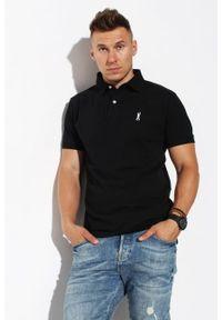 Czarna koszulka polo Edward Orlovski polo, w kolorowe wzory
