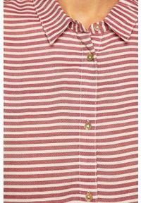 Czerwona koszula medicine z klasycznym kołnierzykiem, długa, na co dzień