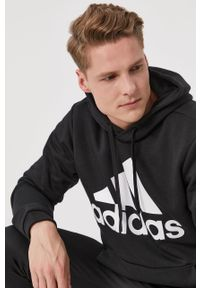 Czarna bluza nierozpinana Adidas z kapturem, z nadrukiem, na co dzień