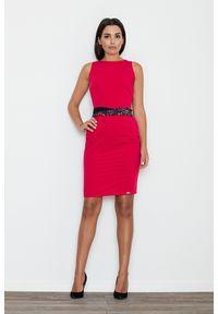 e-margeritka - Sukienka ołówkowa bez rękawów z ozdobnym pasem czerwona - xl. Okazja: do pracy, na urodziny, na spotkanie biznesowe, na imprezę. Kolor: czerwony. Materiał: skóra, poliester, wiskoza, materiał. Długość rękawa: bez rękawów. Wzór: kolorowy. Typ sukienki: ołówkowe. Styl: biznesowy, wizytowy, elegancki