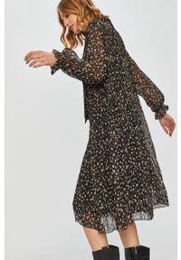 Czarna sukienka Answear Lab w kwiaty, z długim rękawem