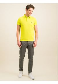 TOMMY HILFIGER - Tommy Hilfiger Polo Diagonal Gs MW0MW12398 Żółty Regular Fit. Typ kołnierza: polo. Kolor: żółty