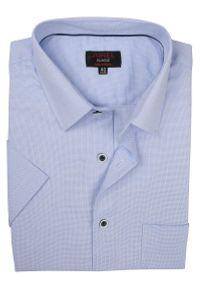 Niebieska elegancka koszula Jurel na spotkanie biznesowe, krótka, z krótkim rękawem