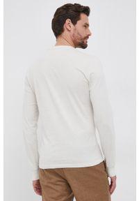 Blauer - Longsleeve bawełniany. Okazja: na co dzień. Kolor: beżowy. Materiał: bawełna. Długość rękawa: długi rękaw. Wzór: gładki. Styl: casual