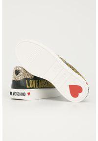 Czarne buty sportowe Love Moschino z cholewką, na sznurówki, na obcasie