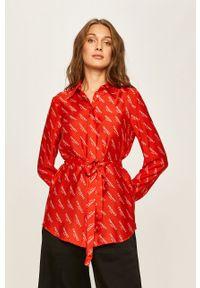 Czerwona koszula TwinSet długa, casualowa, z klasycznym kołnierzykiem