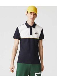 Lacoste - LACOSTE - Dwukolorowa koszulka polo z logo Slim Fit. Typ kołnierza: polo. Kolor: biały. Materiał: bawełna. Wzór: aplikacja. Styl: klasyczny, retro