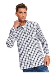 Niebieska koszula TOP SECRET z krótkim rękawem, długa, na zimę, casualowa