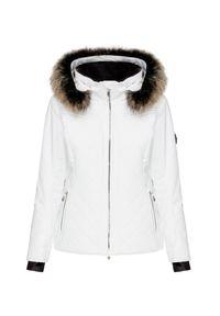 Biała kurtka narciarska Descente z aplikacjami