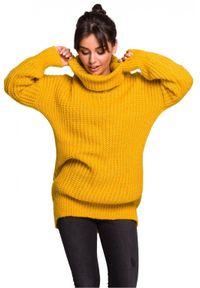 Sweter z golfem, długi, z długim rękawem
