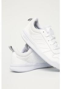 Białe buty sportowe Adidas z okrągłym noskiem, z cholewką, na sznurówki