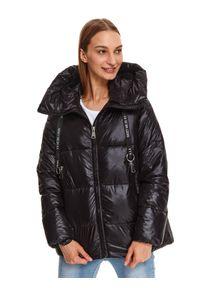 Czarna kurtka TOP SECRET casualowa, w kolorowe wzory, z długim rękawem, do pracy