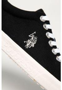 Czarne niskie trampki U.S. Polo Assn na sznurówki, z okrągłym noskiem, z cholewką