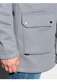 Ombre Clothing - Płaszcz męski jesienny C454 - szary - XXL. Typ kołnierza: kaptur. Kolor: szary. Materiał: poliester, dzianina, elastan. Sezon: jesień