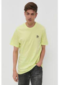 adidas Originals - T-shirt bawełniany. Okazja: na co dzień. Kolor: żółty. Materiał: bawełna. Styl: casual