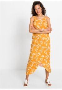 Długa sukienka z dłuższymi bokami bonprix żółto-pomarańczowy w roślinny wzór. Kolor: żółty. Wzór: kwiaty. Długość: maxi