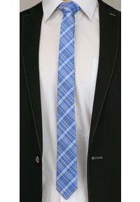 Alties - Niebieski Stylowy Krawat (Śledź) Męski -ALTIES- 5 cm, Wąski, w Szkocką Kratkę. Kolor: niebieski. Materiał: tkanina. Wzór: kratka. Styl: elegancki