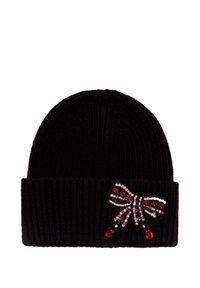 Czarna czapka Markus Lupfer na zimę, z aplikacjami