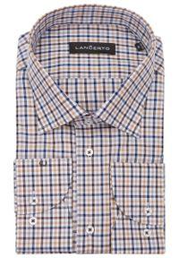 Niebieska koszula Lancerto casualowa, na co dzień, w kolorowe wzory