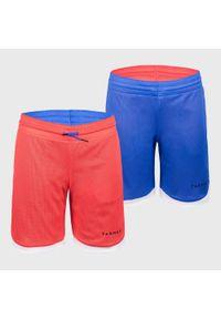 TARMAK - Spodenki koszykarskie dla dzieci Tarmak SH500R BLC dwustronne. Kolor: biały, wielokolorowy, niebieski, różowy. Materiał: materiał. Sport: koszykówka
