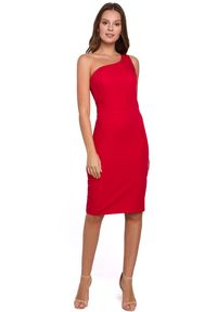 Makover - Elegancka sukienka na jedno ramię z ołówkowym dołem. Okazja: na randkę, do pracy, na imprezę. Typ sukienki: ołówkowe. Styl: elegancki. Długość: midi #4