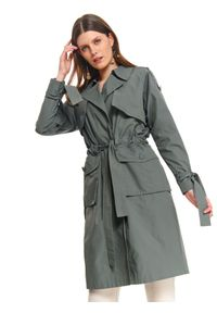 Brązowy płaszcz TOP SECRET w kolorowe wzory, z długim rękawem, długi