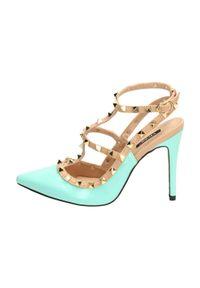 vices - Niebieskie sandały damskie, szpilki VICES 1166. Kolor: niebieski. Materiał: skóra, lakier. Obcas: na szpilce