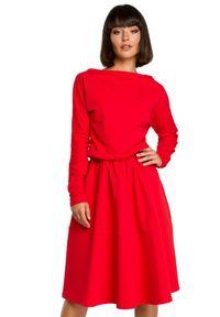 BE - Rozkloszowana sukienka z kieszeniami. Materiał: bawełna, dzianina, materiał, elastan. Długość rękawa: długi rękaw