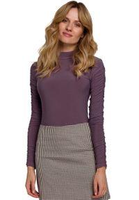 Fioletowa bluzka z długim rękawem MOE z golfem