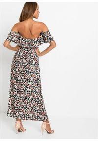 Długa sukienka bonprix czarny w kwiaty. Kolor: czarny. Wzór: kwiaty. Długość: maxi