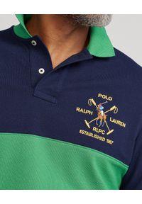 Ralph Lauren - RALPH LAUREN - Granatowo-zielona koszulka polo Custom Slim FIt. Typ kołnierza: polo. Kolor: niebieski. Materiał: bawełna. Długość: długie. Wzór: haft, aplikacja. Styl: sportowy #5