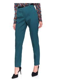 Turkusowe spodnie TOP SECRET casualowe, na co dzień, z podwyższonym stanem, w kolorowe wzory