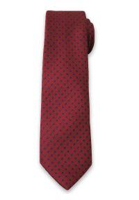 Stylowy Krawat Męski w Granatowe Groszki, Kropki - 6 cm - Alties, Bordowy. Kolor: czerwony. Materiał: tkanina. Wzór: grochy. Styl: elegancki