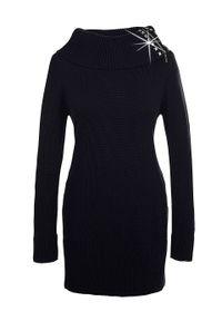 Czarny sweter bonprix długi, z golfem