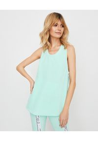 JOANNA MUZYK - Miętowy top z bawełny. Kolor: zielony. Materiał: bawełna. Długość rękawa: na ramiączkach. Długość: długie. Wzór: aplikacja. Styl: klasyczny, sportowy