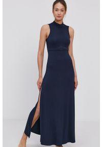Emporio Armani - Sukienka. Kolor: niebieski. Materiał: dzianina. Typ sukienki: rozkloszowane